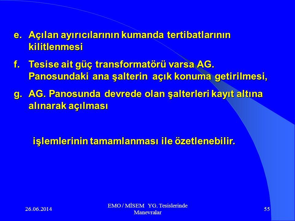26.06.2014 EMO / MİSEM YG. Tesislerinde Manevralar 54 6.4. Tesisin topraklanarak izole edilmesi a.Enerji girişi bölümündeki ayırıcı topraklı ise topra