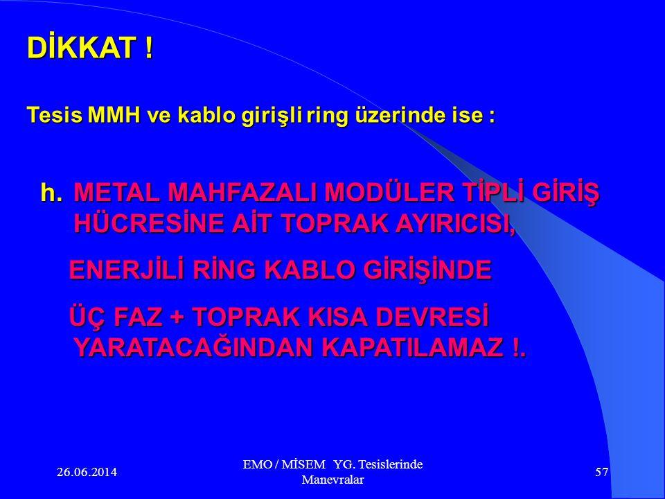 26.06.2014 EMO / MİSEM YG. Tesislerinde Manevralar 56 Ring girişi Ring Çıkışı TRAFO 1 23467