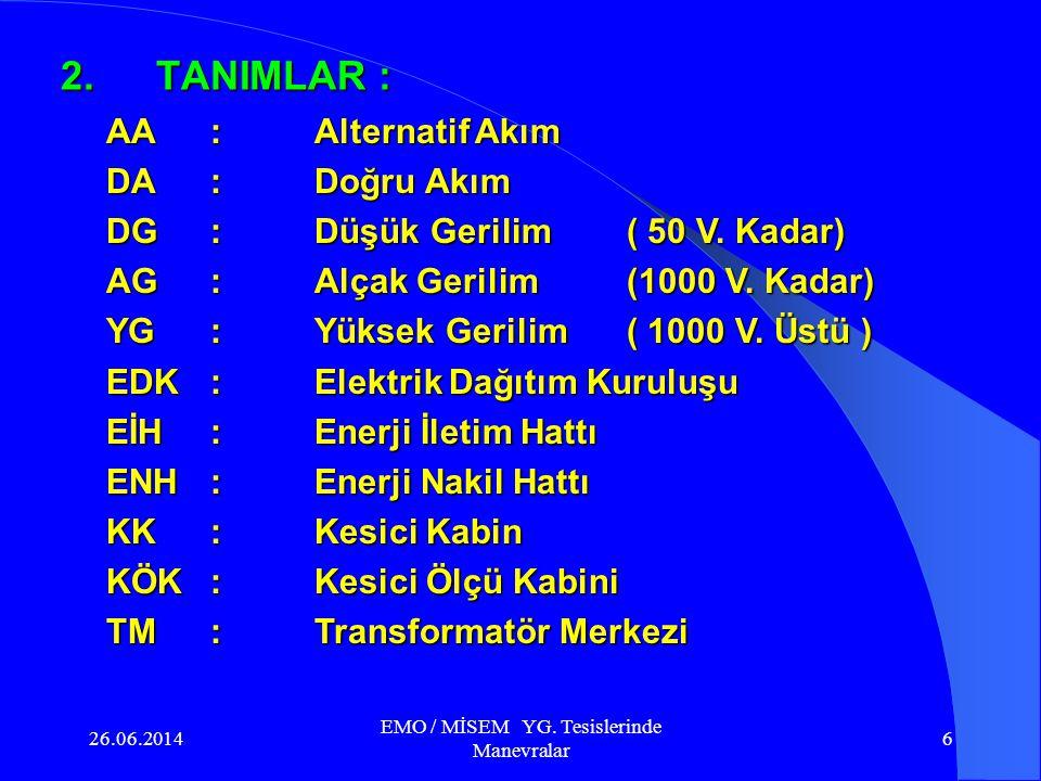 26.06.2014 EMO / MİSEM YG. Tesislerinde Manevralar 26 Topraklama tertibatı ( ayırıcısı )