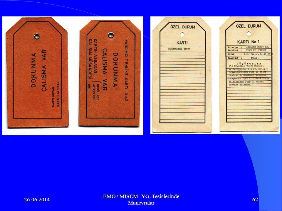 26.06.2014 EMO / MİSEM YG. Tesislerinde Manevralar 61 Güvenlik ve İkaz kartlarının yapılacak tüm manevralarda asılması zorunludur. Kartların kullanılm
