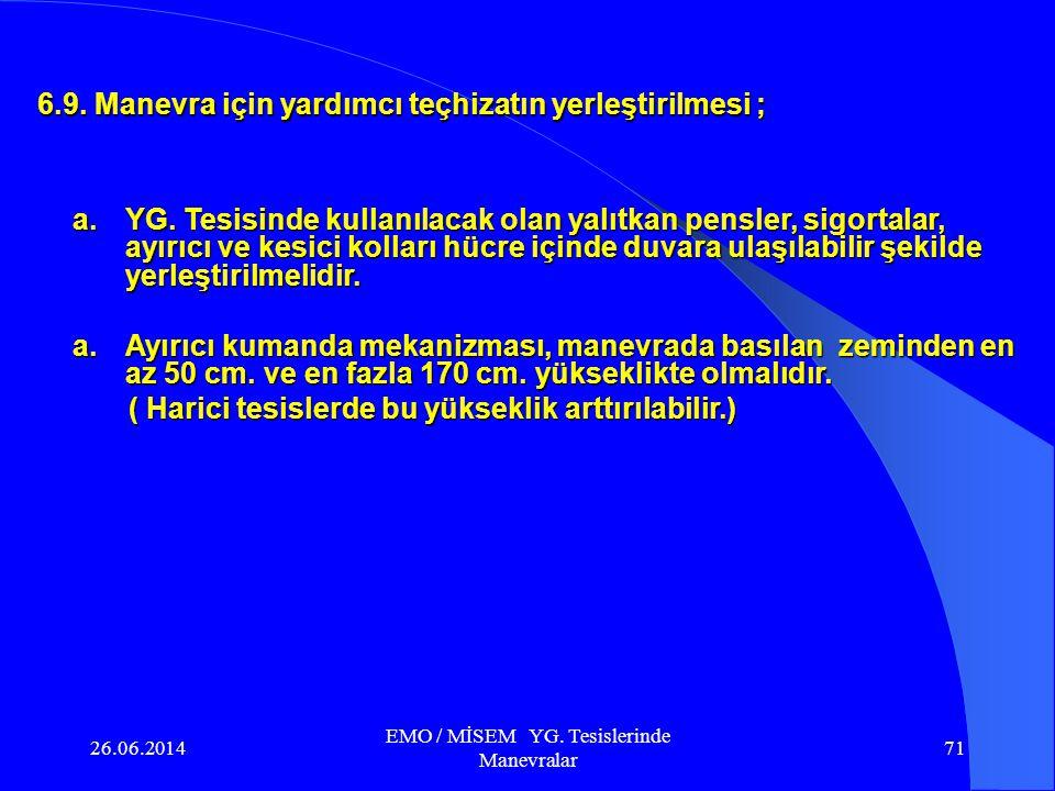 26.06.2014 EMO / MİSEM YG. Tesislerinde Manevralar 70 b. Kitleme ; Tesisin yapılması veya sonraki aşamada tesisin fonksiyonel olarak hatalı manevra ya
