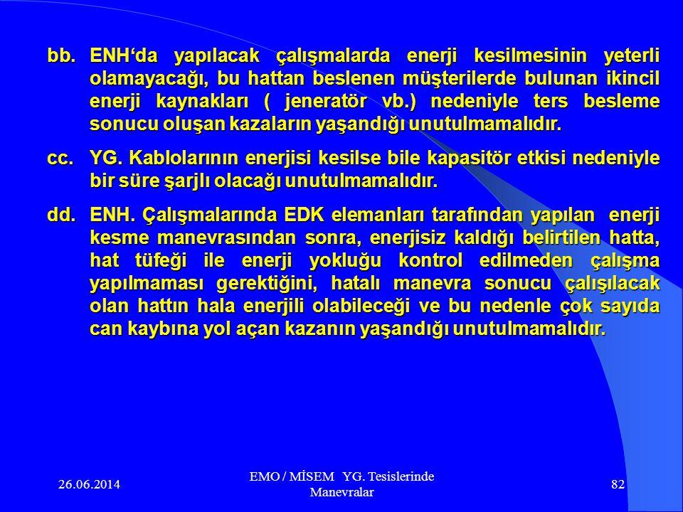 26.06.2014 EMO / MİSEM YG. Tesislerinde Manevralar 81 v.Ayırıcı bıçakları açıkken üst kontaklarda gerilim var ise, o direk enerji altında olacağından