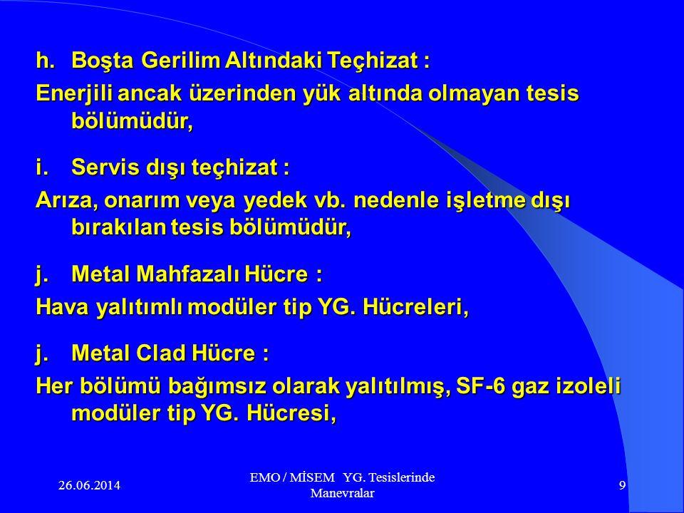 26.06.2014 EMO / MİSEM YG.Tesislerinde Manevralar 29 Enerjilenen tesis bölümü Enerji girişi c.