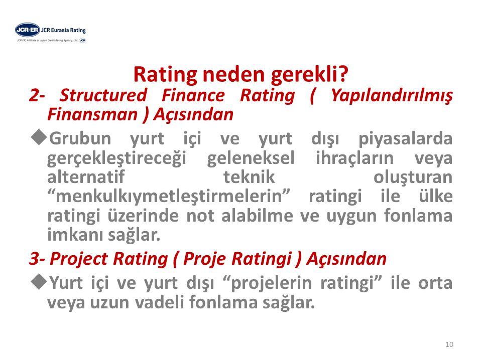 Ratingin Yatırımcılara Yararları  Üstlenilen riskin kolay anlaşılabilir semboller aracılığıyla yatırımcılara anlatımını sağlar.