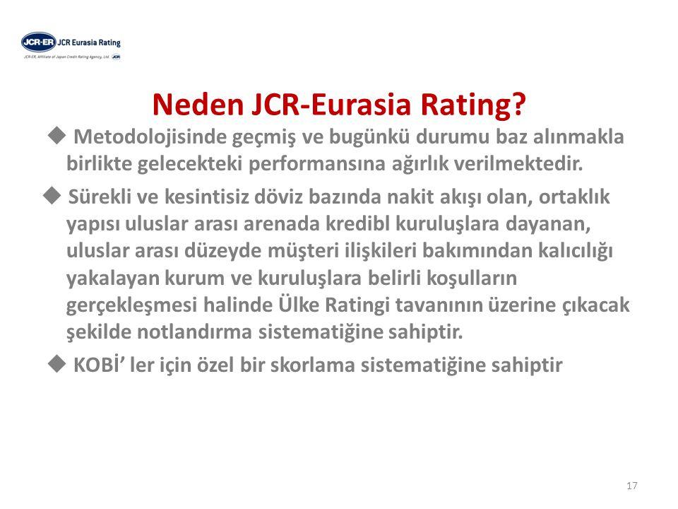Ratingin parametre ağırlıkları JCR Eurasia Rating'in; Parametre ağırlıkları aşağıdaki gibidir;  Gelişmekte olan ülkeler için parametre ağırlığı ; Kalitatif > Kantitatif  Gelişmiş ülkeler için parametre ağırlığı; Kalitatif < Kantitatif 18