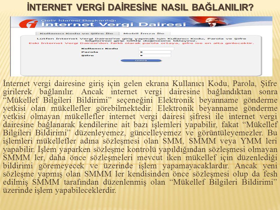 İnternet vergi dairesine giriş için gelen ekrana Kullanıcı Kodu, Parola, Şifre girilerek bağlanılır. Ancak internet vergi dairesine bağlandıktan sonra