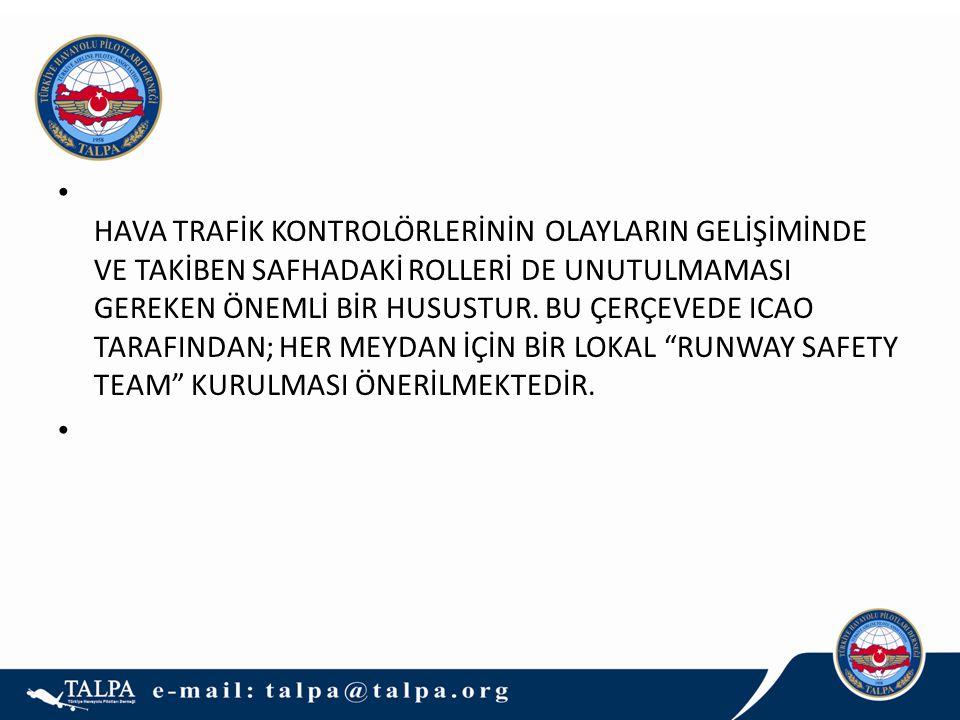 • HAVA TRAFİK KONTROLÖRLERİNİN OLAYLARIN GELİŞİMİNDE VE TAKİBEN SAFHADAKİ ROLLERİ DE UNUTULMAMASI GEREKEN ÖNEMLİ BİR HUSUSTUR. BU ÇERÇEVEDE ICAO TARAF