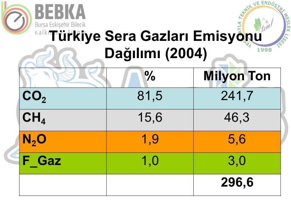 Türkiye Sera Gazları Emisyonu Dağılımı (2004) %Milyon Ton CO 2 81,5241,7 CH 4 15,646,3 N2ON2O1,95,6 F_Gaz1,03,0 296,6