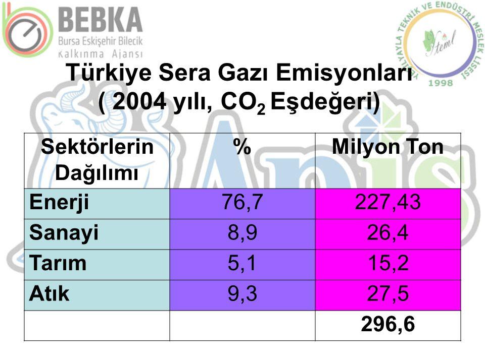 Türkiye Sera Gazı Emisyonları ( 2004 yılı, CO 2 Eşdeğeri) Sektörlerin Dağılımı %Milyon Ton Enerji76,7227,43 Sanayi8,926,4 Tarım5,115,2 Atık9,327,5 296