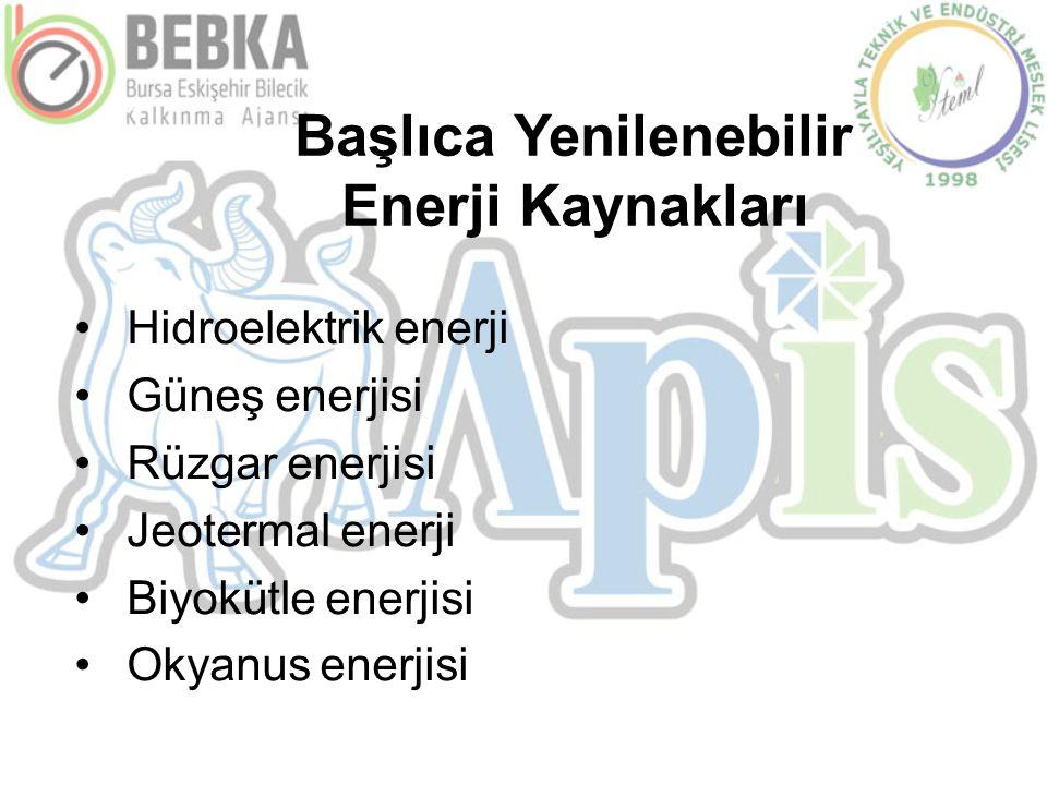 Başlıca Yenilenebilir Enerji Kaynakları •Hidroelektrik enerji •Güneş enerjisi •Rüzgar enerjisi •Jeotermal enerji •Biyokütle enerjisi •Okyanus enerjisi