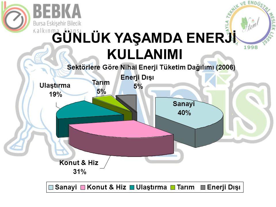 GÜNLÜK YAŞAMDA ENERJİ KULLANIMI Konut & Hiz 31% Sanayi 40% Tarım 5% Enerji Dışı 5% Ulaştırma 19% SanayiSanayiKonut & HizUlaştırmaTarımTarımEnerji Dışı