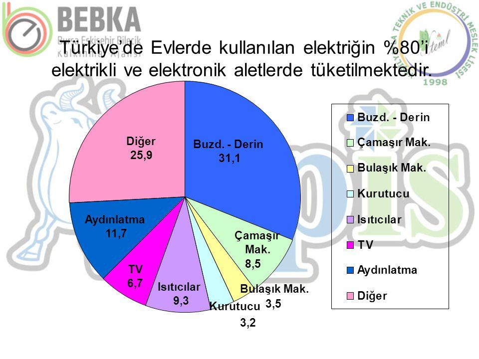 Türkiye'de Evlerde kullanılan elektriğin %80'i elektrikli ve elektronik aletlerde tüketilmektedir. Buzd. - Derin 31,1 Çamaşır Mak. 8,5 Bulaşık Mak. Ku