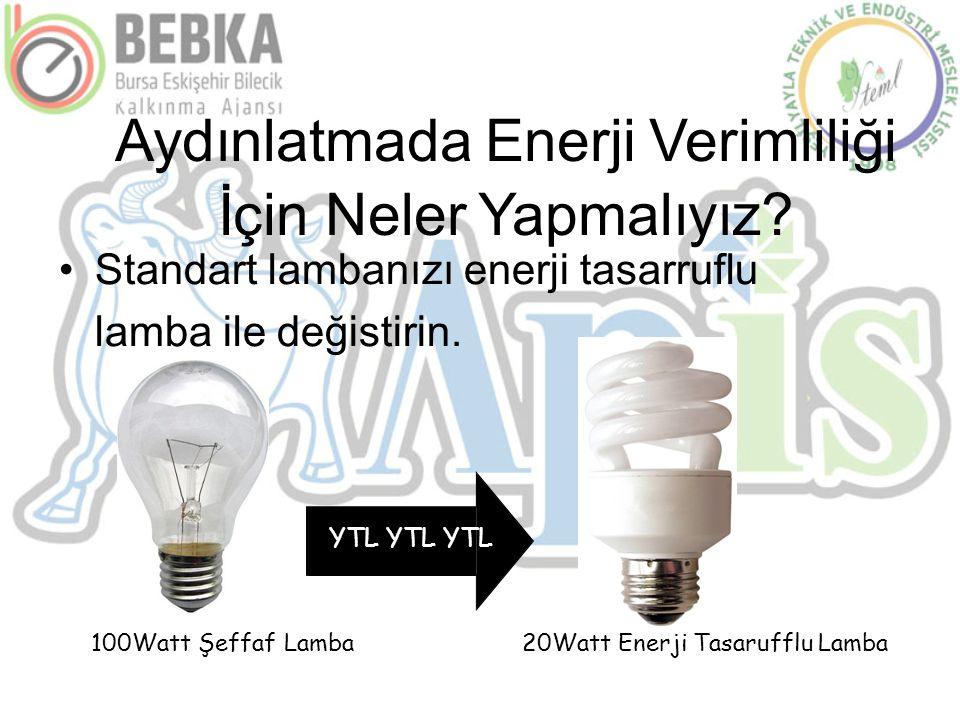 Aydınlatmada Enerji Verimliliği İçin Neler Yapmalıyız? •Standart lambanızı enerji tasarruflu lamba ile değistirin. YTL YTL YTL 100Watt Şeffaf Lamba20W