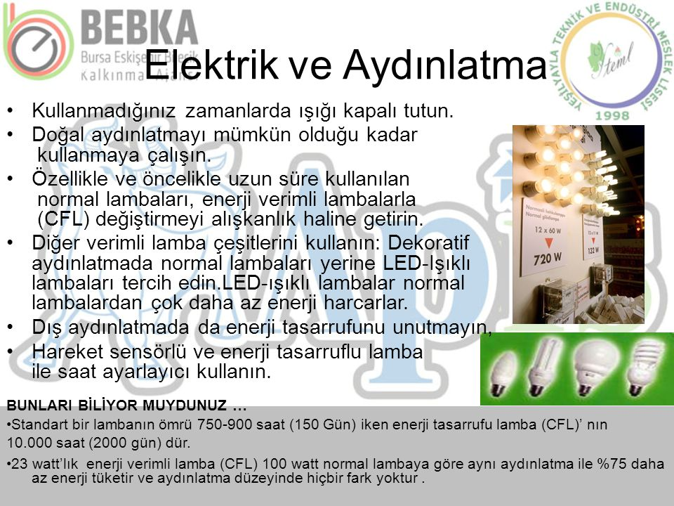 Increasing Public Awareness of Energy Efficiency in Elektrik işleri Etüt İdaresi için yürütülen Buildings for the EIE General Directorate Binalarda En