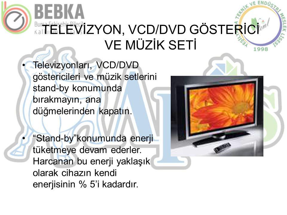 TELEVİZYON, VCD/DVD GÖSTERİCİ VE MÜZİK SETİ •Televizyonları, VCD/DVD göstericileri ve müzik setlerini stand-by konumunda bırakmayın, ana düğmelerinden