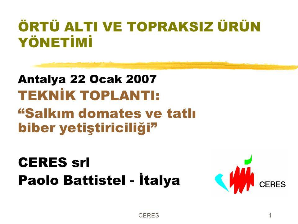 """CERES1 ÖRTÜ ALTI VE TOPRAKSIZ ÜRÜN YÖNETİMİ Antalya 22 Ocak 2007 TEKNİK TOPLANTI: """"Salkım domates ve tatlı biber yetiştiriciliği"""" CERES srl Paolo Batt"""
