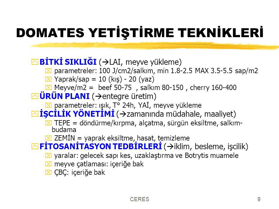 CERES9 DOMATES YETİŞTİRME TEKNİKLERİ yBİTKİ SIKLIĞI (  LAI, meyve yükleme) x parametreler: 100 J/cm2/salkım, min 1.8-2.5 MAX 3.5-5.5 sap/m2 x Yaprak/