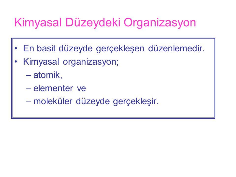Kimyasal Düzeydeki Organizasyon •En basit düzeyde gerçekleşen düzenlemedir.