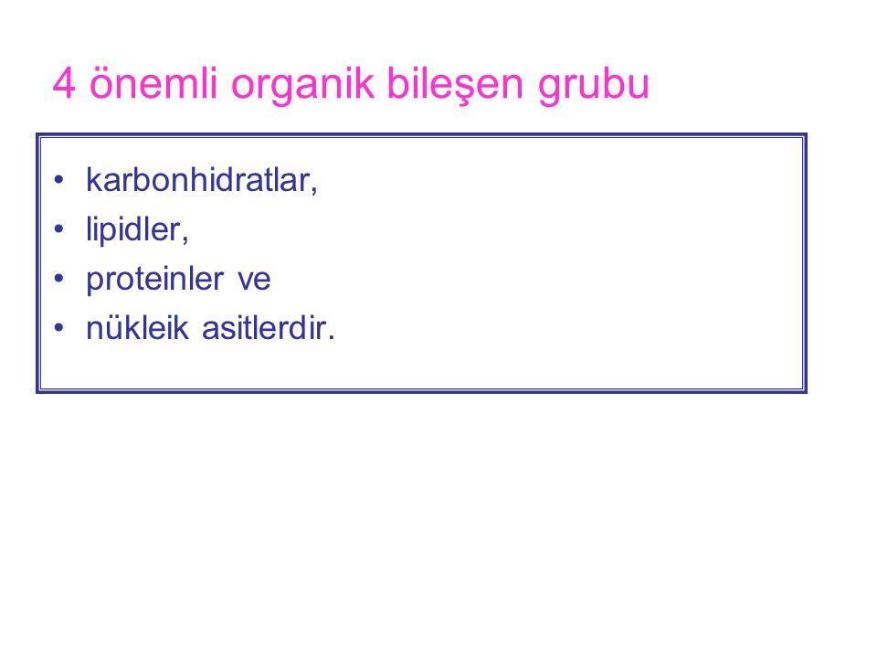 4 önemli organik bileşen grubu •karbonhidratlar, •lipidler, •proteinler ve •nükleik asitlerdir.