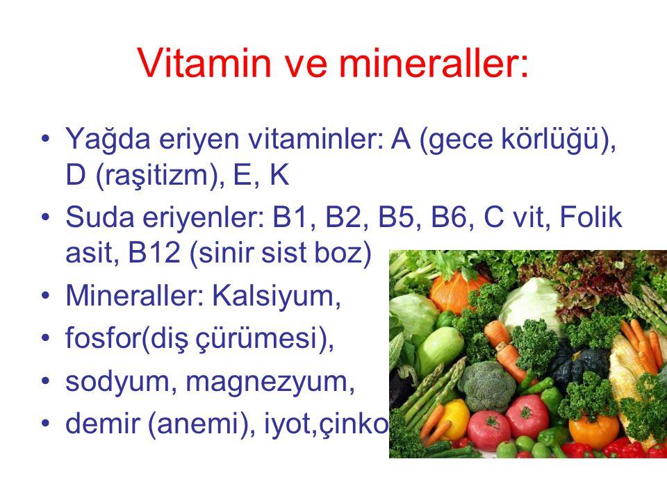 Vitamin ve mineraller: •Yağda eriyen vitaminler: A (gece körlüğü), D (raşitizm), E, K •Suda eriyenler: B1, B2, B5, B6, C vit, Folik asit, B12 (sinir sist boz) •Mineraller: Kalsiyum, •fosfor(diş çürümesi), •sodyum, magnezyum, •demir (anemi), iyot,çinko