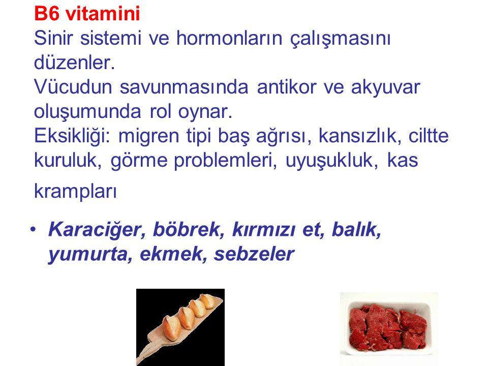 B6 vitamini Sinir sistemi ve hormonların çalışmasını düzenler.