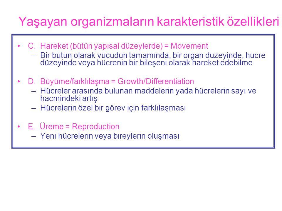 Yaşayan organizmaların karakteristik özellikleri •C.
