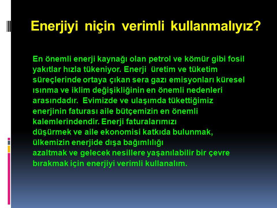 Enerjiyi niçin verimli kullanmalıyız.