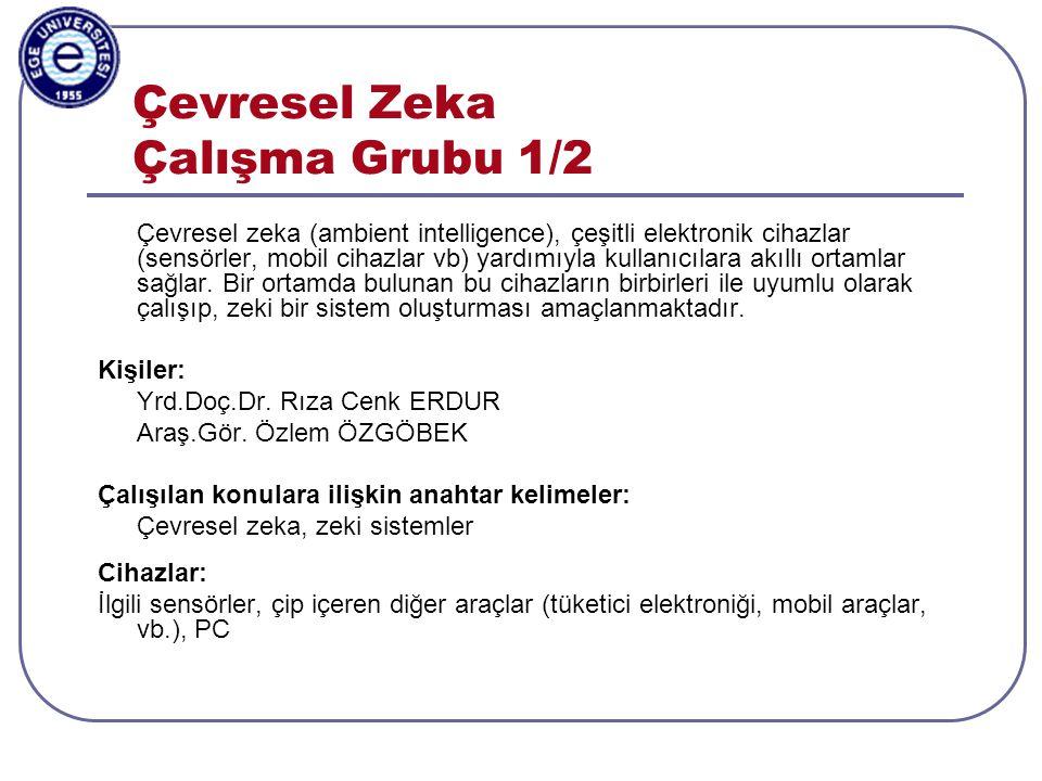 Aylin Kantarcı, 3-5.11.2003, ISCIS2003, Antalya Çevresel Zeka Çalışma Grubu 2/2 Yürütülen projelere ilişkin kısa bilgi: 2010 yılı sonlarında Öğretim Üyesi Yetiştirme Programı kapsamında bir proje önerilecektir.