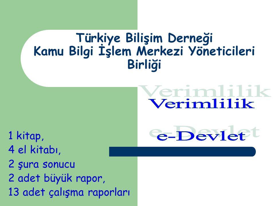 Türkiye Bilişim Derneği Kamu Bilgi İşlem Merkezi Yöneticileri Birliği 1 kitap, 4 el kitabı, 2 şura sonucu 2 adet büyük rapor, 13 adet çalışma raporları