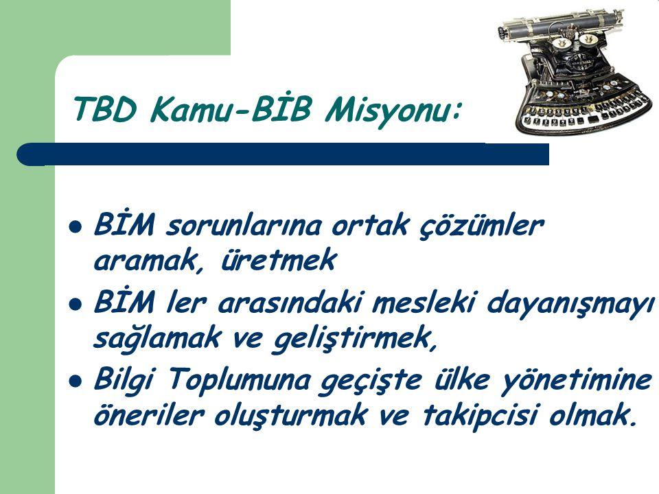 TBD Kamu-BİB Misyonu:  BİM sorunlarına ortak çözümler aramak, üretmek  BİM ler arasındaki mesleki dayanışmayı sağlamak ve geliştirmek,  Bilgi Toplu