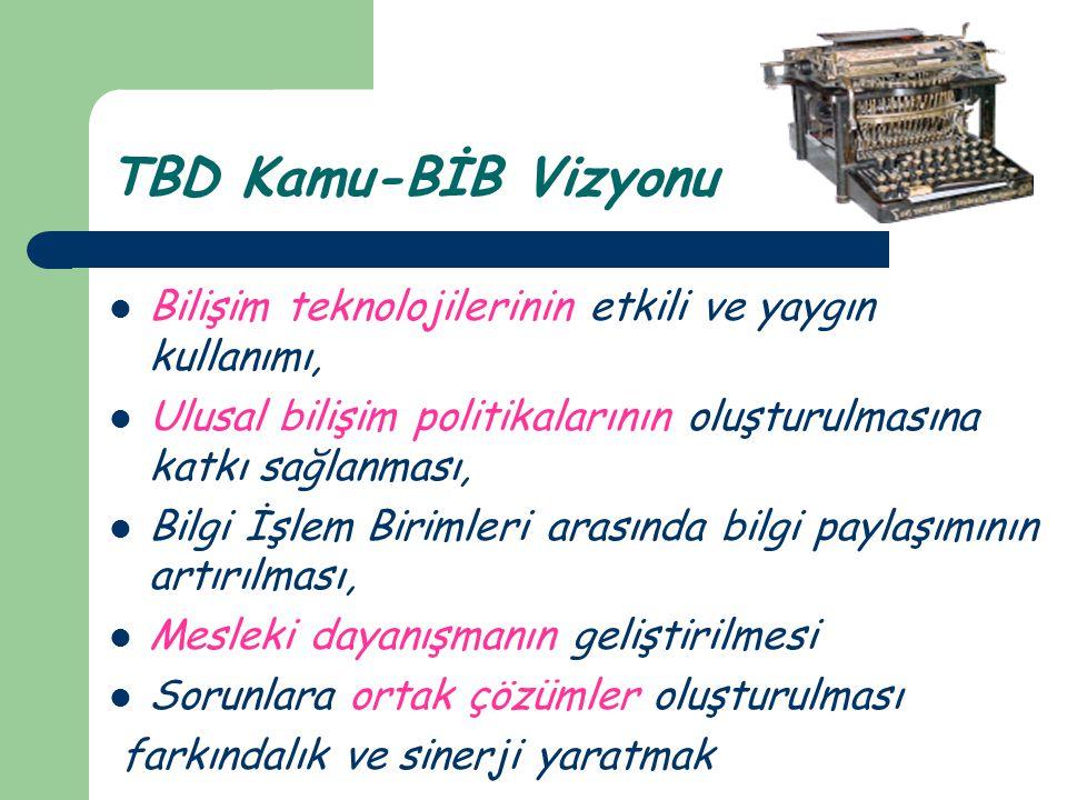 TBD Kamu-BİB Vizyonu  Bilişim teknolojilerinin etkili ve yaygın kullanımı,  Ulusal bilişim politikalarının oluşturulmasına katkı sağlanması,  Bilgi İşlem Birimleri arasında bilgi paylaşımının artırılması,  Mesleki dayanışmanın geliştirilmesi  Sorunlara ortak çözümler oluşturulması farkındalık ve sinerji yaratmak