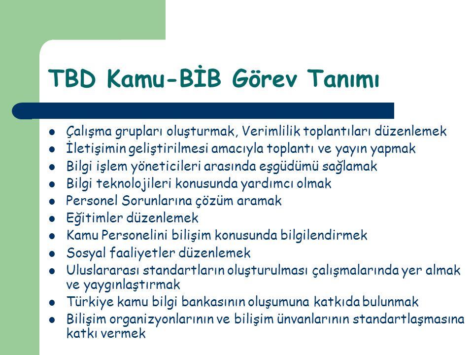 TBD Kamu-BİB Görev Tanımı  Çalışma grupları oluşturmak, Verimlilik toplantıları düzenlemek  İletişimin geliştirilmesi amacıyla toplantı ve yayın yap