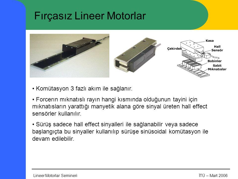 Lineer Motorlar SemineriİTÜ – Mart 2006 Fırçasız Lineer Motorlar • Komütasyon 3 fazlı akım ile sağlanır. • Forcerın mıknatıslı rayın hangi kısmında ol