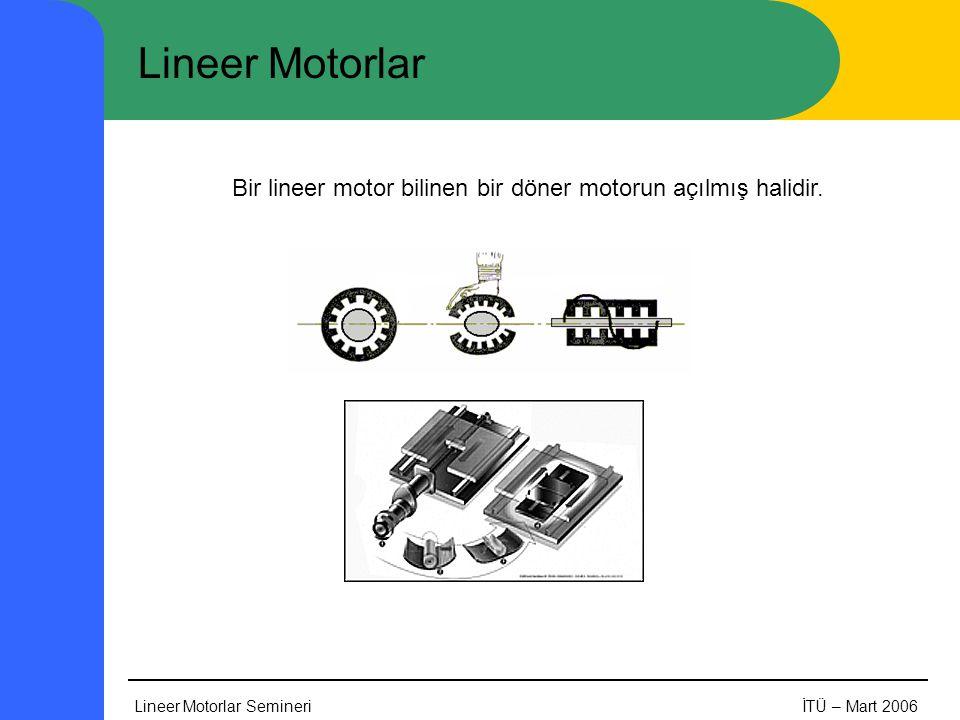 Lineer Motorlar Bir lineer motor bilinen bir döner motorun açılmış halidir.