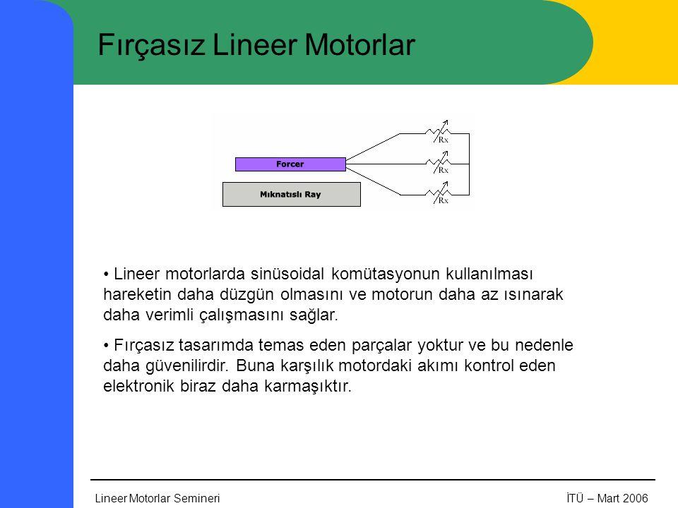 Lineer Motorlar SemineriİTÜ – Mart 2006 Fırçasız Lineer Motorlar • Lineer motorlarda sinüsoidal komütasyonun kullanılması hareketin daha düzgün olmasını ve motorun daha az ısınarak daha verimli çalışmasını sağlar.