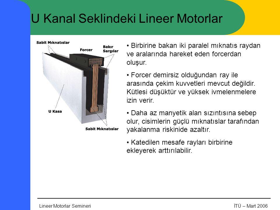 Lineer Motorlar SemineriİTÜ – Mart 2006 U Kanal Seklindeki Lineer Motorlar • Birbirine bakan iki paralel mıknatıs raydan ve aralarında hareket eden forcerdan oluşur.