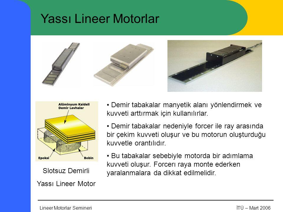 Lineer Motorlar SemineriİTÜ – Mart 2006 Yassı Lineer Motorlar Slotsuz Demirli Yassı Lineer Motor • Demir tabakalar manyetik alanı yönlendirmek ve kuvveti arttırmak için kullanılırlar.