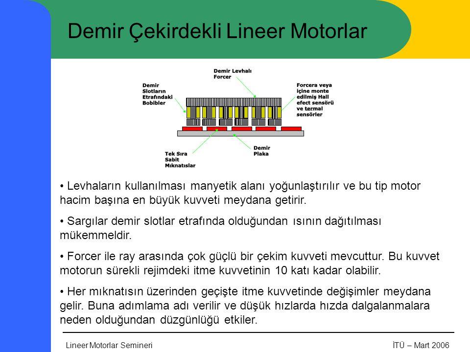 Lineer Motorlar SemineriİTÜ – Mart 2006 Demir Çekirdekli Lineer Motorlar • Levhaların kullanılması manyetik alanı yoğunlaştırılır ve bu tip motor hacim başına en büyük kuvveti meydana getirir.