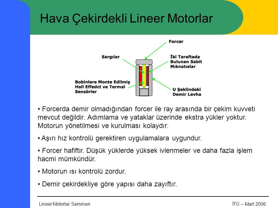 Lineer Motorlar SemineriİTÜ – Mart 2006 Hava Çekirdekli Lineer Motorlar • Forcerda demir olmadığından forcer ile ray arasında bir çekim kuvveti mevcut değildir.