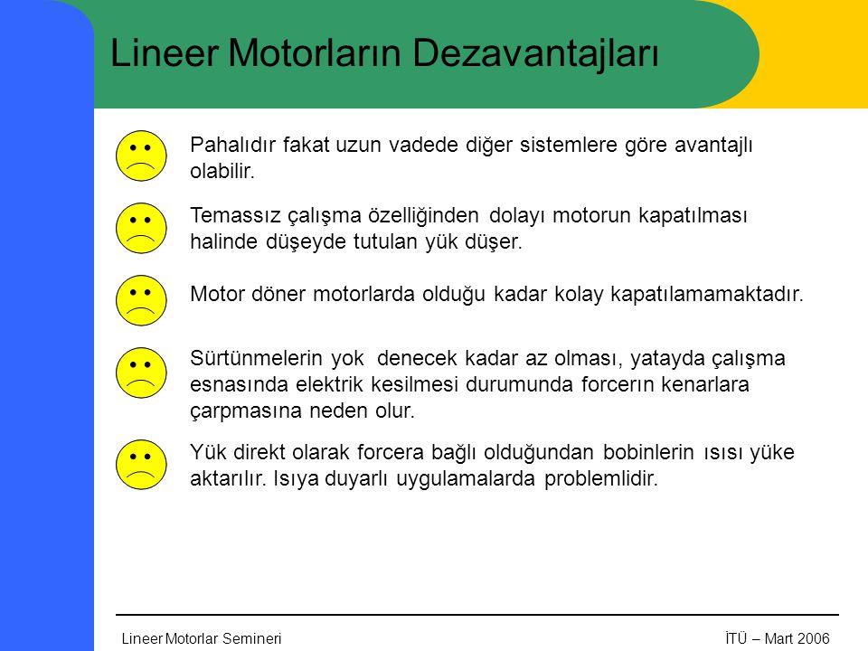 Lineer Motorlar SemineriİTÜ – Mart 2006 Lineer Motorların Dezavantajları Pahalıdır fakat uzun vadede diğer sistemlere göre avantajlı olabilir. Temassı
