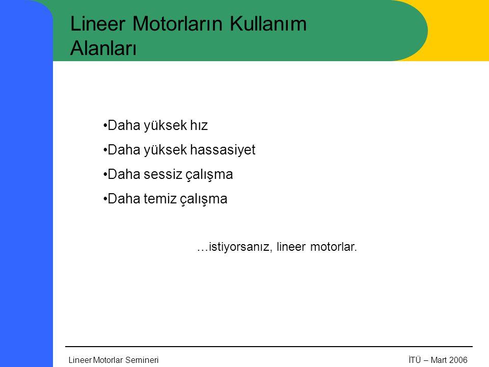 Lineer Motorlar SemineriİTÜ – Mart 2006 Lineer Motorların Kullanım Alanları •Daha yüksek hız •Daha yüksek hassasiyet •Daha sessiz çalışma •Daha temiz çalışma …istiyorsanız, lineer motorlar.