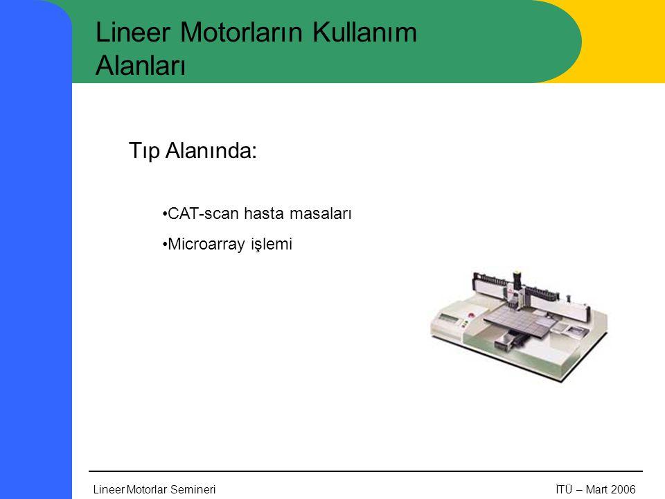 Lineer Motorlar SemineriİTÜ – Mart 2006 Lineer Motorların Kullanım Alanları Tıp Alanında: •CAT-scan hasta masaları •Microarray işlemi