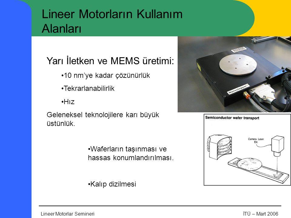 Lineer Motorlar SemineriİTÜ – Mart 2006 Lineer Motorların Kullanım Alanları Yarı İletken ve MEMS üretimi: •10 nm'ye kadar çözünürlük •Tekrarlanabilirlik •Hız Geleneksel teknolojilere karı büyük üstünlük.