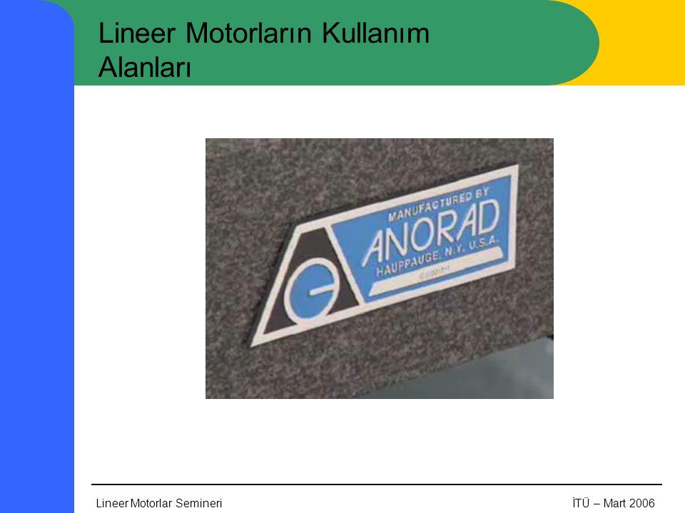 Lineer Motorlar SemineriİTÜ – Mart 2006 Lineer Motorların Kullanım Alanları