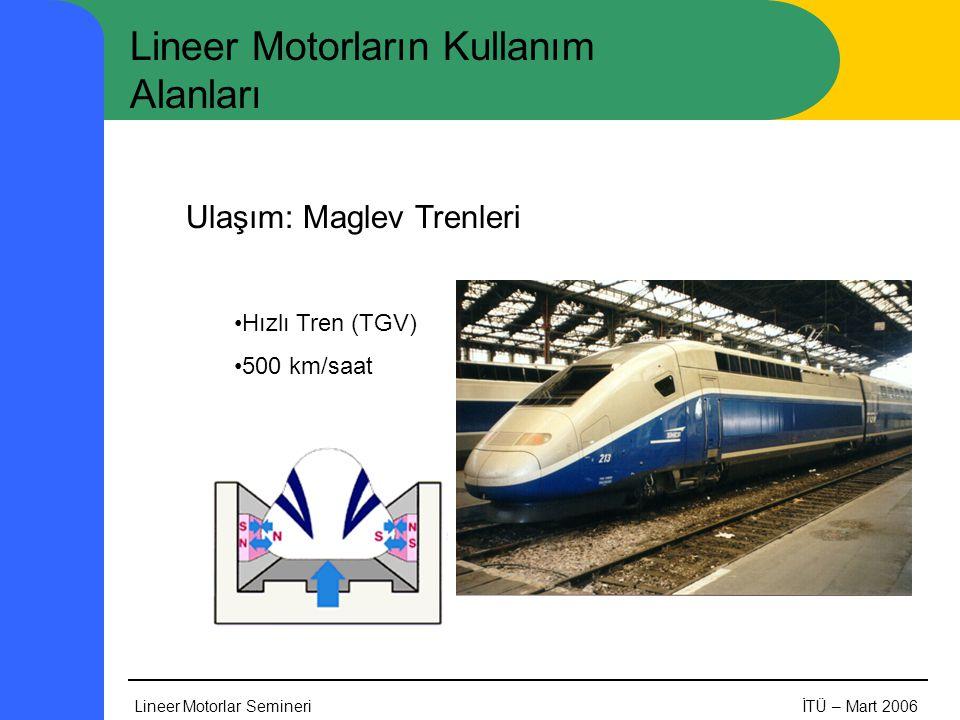 Lineer Motorlar SemineriİTÜ – Mart 2006 Lineer Motorların Kullanım Alanları Ulaşım: Maglev Trenleri •Hızlı Tren (TGV) •500 km/saat