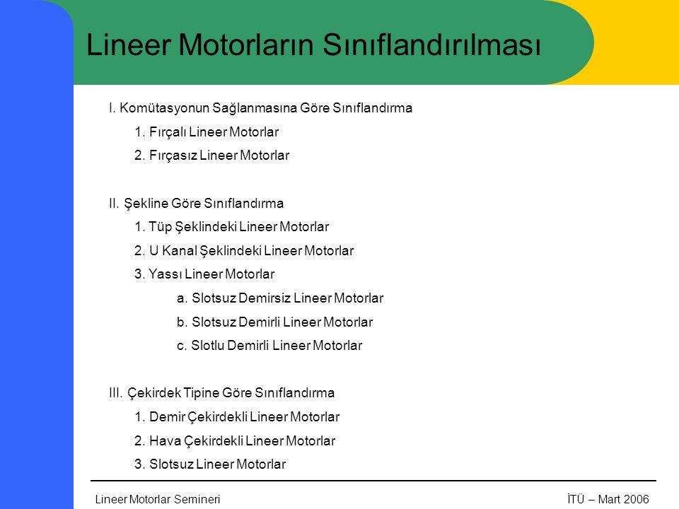 Lineer Motorlar SemineriİTÜ – Mart 2006 Lineer Motorların Sınıflandırılması I. Komütasyonun Sağlanmasına Göre Sınıflandırma 1. Fırçalı Lineer Motorlar