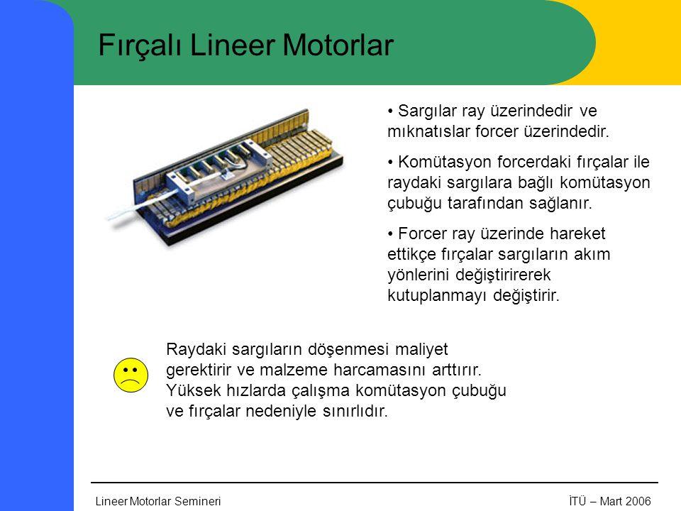 Lineer Motorlar SemineriİTÜ – Mart 2006 Fırçalı Lineer Motorlar • Sargılar ray üzerindedir ve mıknatıslar forcer üzerindedir. • Komütasyon forcerdaki