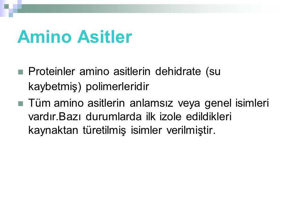 Amino Asitler  Proteinler amino asitlerin dehidrate (su kaybetmiş) polimerleridir  Tüm amino asitlerin anlamsız veya genel isimleri vardır.Bazı durumlarda ilk izole edildikleri kaynaktan türetilmiş isimler verilmiştir.