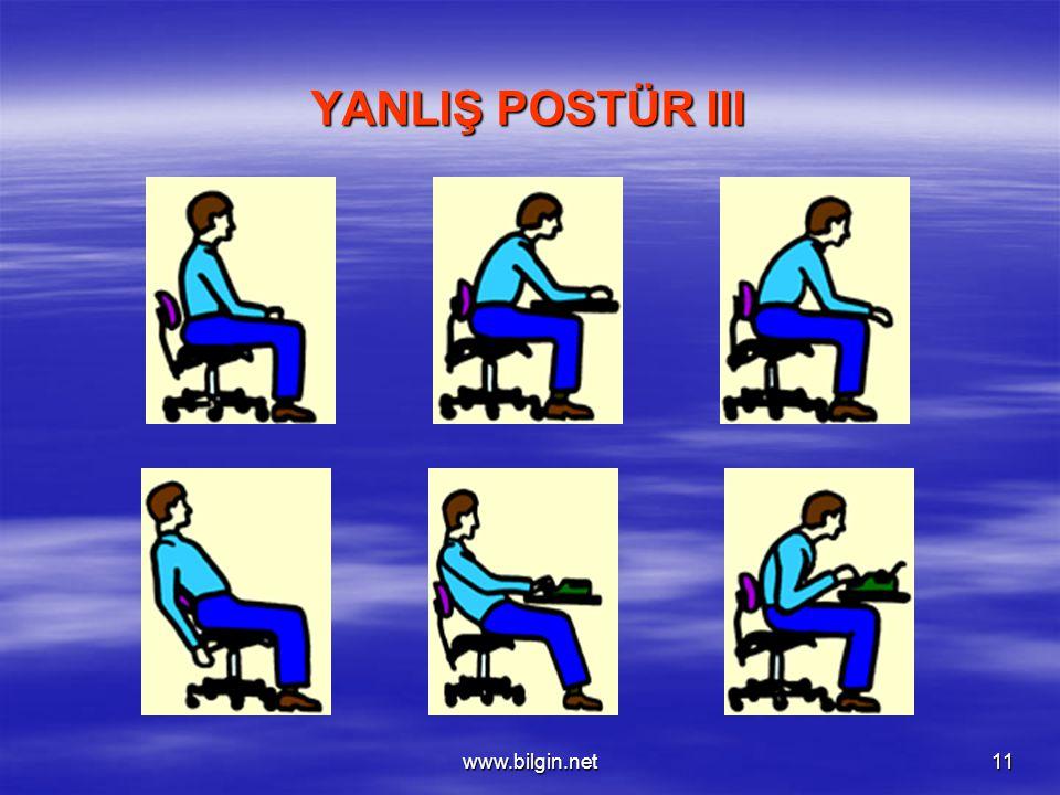 www.bilgin.net11 YANLIŞ POSTÜR III