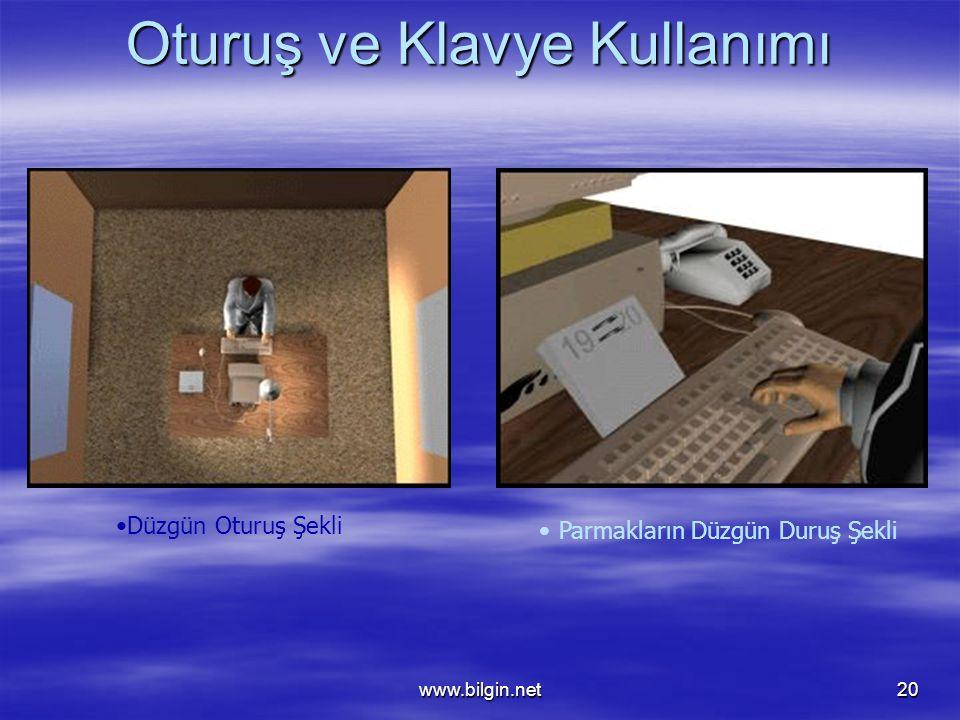 www.bilgin.net20 Oturuş ve Klavye Kullanımı •Düzgün Oturuş Şekli •Parmakların Düzgün Duruş Şekli